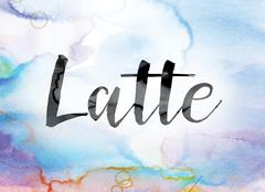 Latte Colorful Watercolor and Ink Word Art Stock Illustration