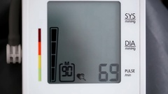 Blood pressure displayed on monitor Stock Footage