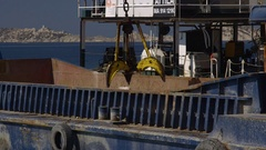 Climate change, rising ocean levels - sea wall construction, close shot Stock Footage