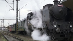 Steam Locomotive Starting On The Rails Stock Footage