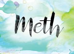 Meth Colorful Watercolor and Ink Word Art Stock Illustration