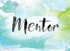 Mentor Colorful Watercolor and Ink Word Art Stock Illustration