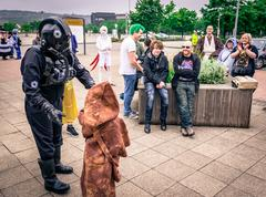 Cosplayers dressed as characters' from 'Star Wars' Stock Photos