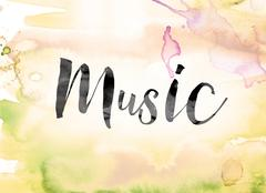 Music Colorful Watercolor and Ink Word Art Stock Illustration