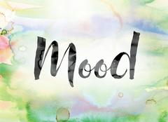 Mood Colorful Watercolor and Ink Word Art Stock Illustration