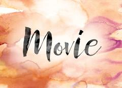 Movie Colorful Watercolor and Ink Word Art Piirros