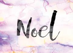 Noel Colorful Watercolor and Ink Word Art Stock Illustration