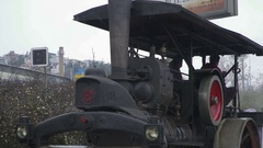 Steam blowing off from an a Old Vintage steam roller machines Stock Footage