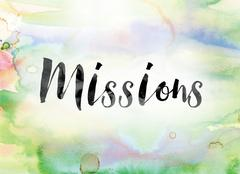 Missions Colorful Watercolor and Ink Word Art Stock Illustration