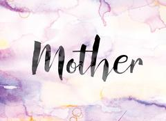 Mother Colorful Watercolor and Ink Word Art Stock Illustration