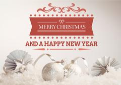 Merry christmas greetings with silver baubles and decoration item Stock Photos