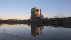 Industrial Plant Demolition Stock Footage