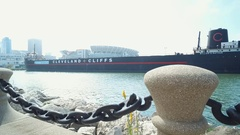CLEVELAND - SHIP MUSEUM - PIER IN FOREGROUND Stock Footage