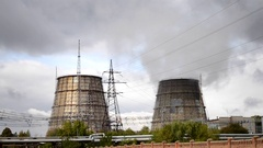 Complex power plants close in cloudy weather Stock Footage