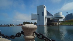 CLEVELAND -  ROCK N ROLL HALL OF FAME - WATER VIEW Stock Footage