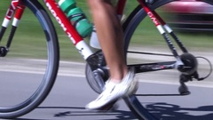 Cycling competition for triathlon on sunny day Stock Footage
