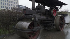Steam whistle on a Retro steam roller machines for laying of asphalt Arkistovideo