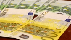 Euro Banknotes, Shot Motorized Slider. Shot Slider Stock Footage