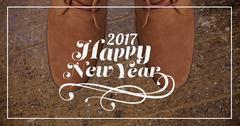 2017 new year wishes against chukka brown boots Stock Illustration