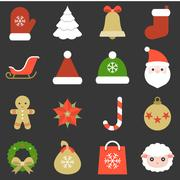 Christmas icon, ornaments and decoration, flat design with long shadow Stock Illustration