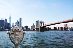 Sightseeing telescope against Brooklyn, New York City Stock Photos