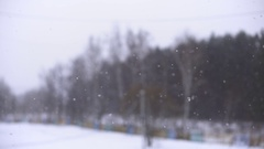 Snow. Falling snowflakes with selective focus. Winter design concept. Stock Footage