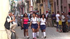 Local people in the street of central Havana. Cuba. Stock Footage