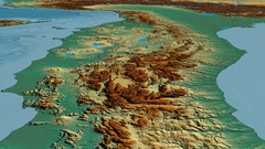 Glide over Appennini mountain range - masks. Relief map Stock Footage