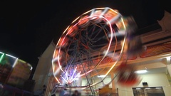 Farris wheel at night , time lapse Stock Footage