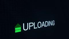 Uploading Computer Files - Slant Angle Stock Footage