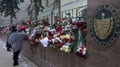 Flowers near Cuban embassy in Moscow Stock Footage