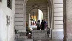 Debate Cuban youth in the colonial house colonnade in Havana. Cuba Stock Footage