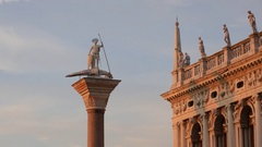 Morning light on column of St Theodore in Venice, Italy. Stock Footage