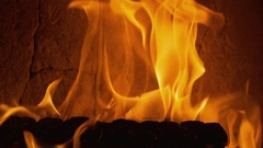 Flames of burning wood in stove Stock Footage
