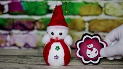 Snowman and red picture Stock Footage
