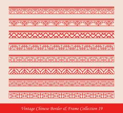 Vintage Chinese Border Frame Vector Collection Stock Illustration