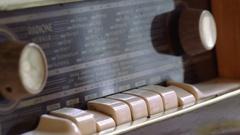 Close up of old beautiful tube radio Stock Footage