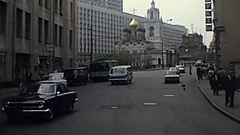 Moscow 1984: heavy traffic in the street Stock Footage