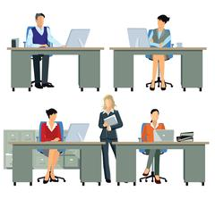 Office workers, employee busy Stock Illustration