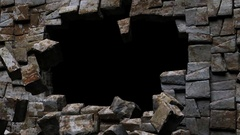 Stone Wall Crash Transition Stock Footage