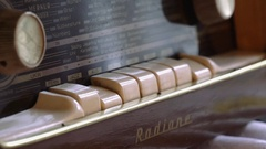 Close up of switches of vintage tube radio Stock Footage