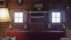 Vintage hut interior with wooden walls and old radio Stock Footage