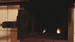 Open door of retro oven Stock Footage