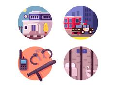 Police department building Stock Illustration