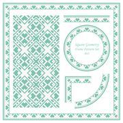 Vintage Frame Pattern Set of Square Cross Geometry Stock Illustration