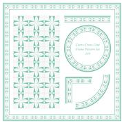 Vintage Frame Pattern Set of Curve Cross Line Stock Illustration