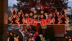 The Vienna Christmas Market, detail of Christmas illuminations Stock Footage