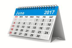 2017 year calendar. June. Isolated 3D image Stock Illustration