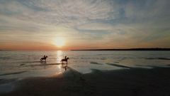 Two Girls are Riding Horses on a Beach. Horses Run on Water. Beautiful Sunset. Stock Footage