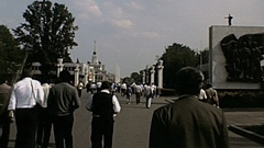 Moscow 1984: people walk inside VDNKh Stock Footage